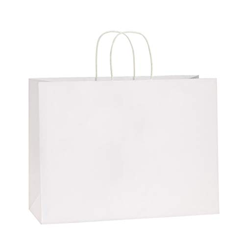BagDream 100Pcs 16x6x12 Inches Kraft Paper Bags with Handles Bulk Gift Bags Shopping Bags for Grocery, Mechandise, Party, 100% Recyclable Large White Paper Bags