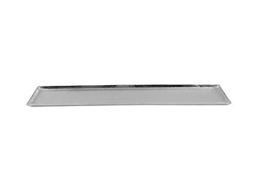 CB Home & Style Deko-Tablett ohne Griffe Dekoteller Silber aus Metall Aluminium rechteckig (44,5x12,5cm)