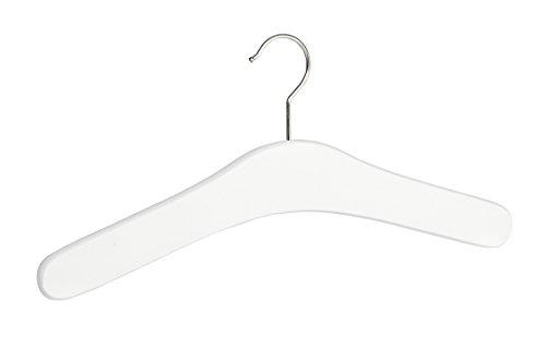 Wenko 17210102100 Kleiderbügel Berlin Weiß, Garderoben-Bügel aus FSC zertifiziertem Echtholz, Buchenholz, 42 x 18 x 1 cm, Weiß