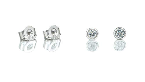 Facet57 Basic Ohrstecker Paar aus 925er Silber mit hochwertigem Zirkoniastein