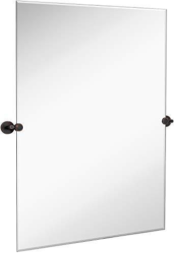 Hamilton Hills Large Pivot Rectangle Mirror with Oil Rubbed Bronze Wall Anchors -