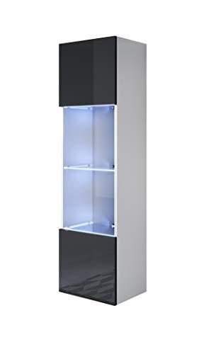 muebles bonitos Vitrina Luke V6 (40x165cm) Color Blanco y Negro