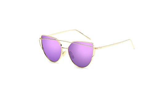 Rétro en métal couleur film Lunettes Anti-ultraviolet Lunettes de soleil + Lunettes (couleur : Violet)