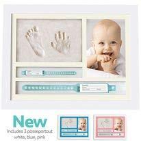 MUBY, Set de marco de foto y huellas bebe | Regalos originales para bebes recien nacidos | Ideal Regalo Bebes | Puerta pulsera bebe recien nacido | Regalos originales para padres primerizos