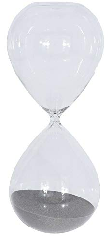 90 Minuten Sanduhr groß kugelförmig 1,5 Stunden Glas Sanduhr Retro Timer (grau)
