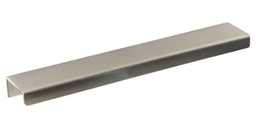 Gedotec Schubladengriff Modern Griffleiste Küche Möbelgriff Edelstahl matt gebürstet - H10129 | Bohrabstand 80 mm | Griffmulde Edelstahl massiv | 1 Stück - Design Schrankgriff-Leiste zum Schrauben