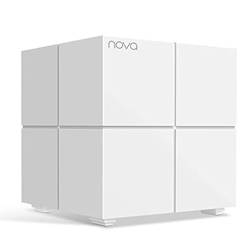 Tenda Nova MW6 (1er Pack) 1x Echtes Dual-Band Mesh WLAN Zusatzstation (bis zu 180m², 2x Gigabit Ports, für Häuser, Büros, Wohnungen, MU-MIMO, Beamforming+) Ersetzt Router, Powerline und Repeater