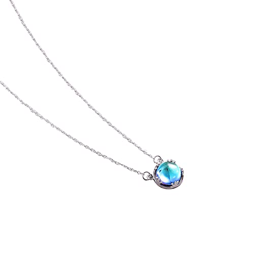 woyada Collar de plata de ley con colgante de piedra lunar para mujer