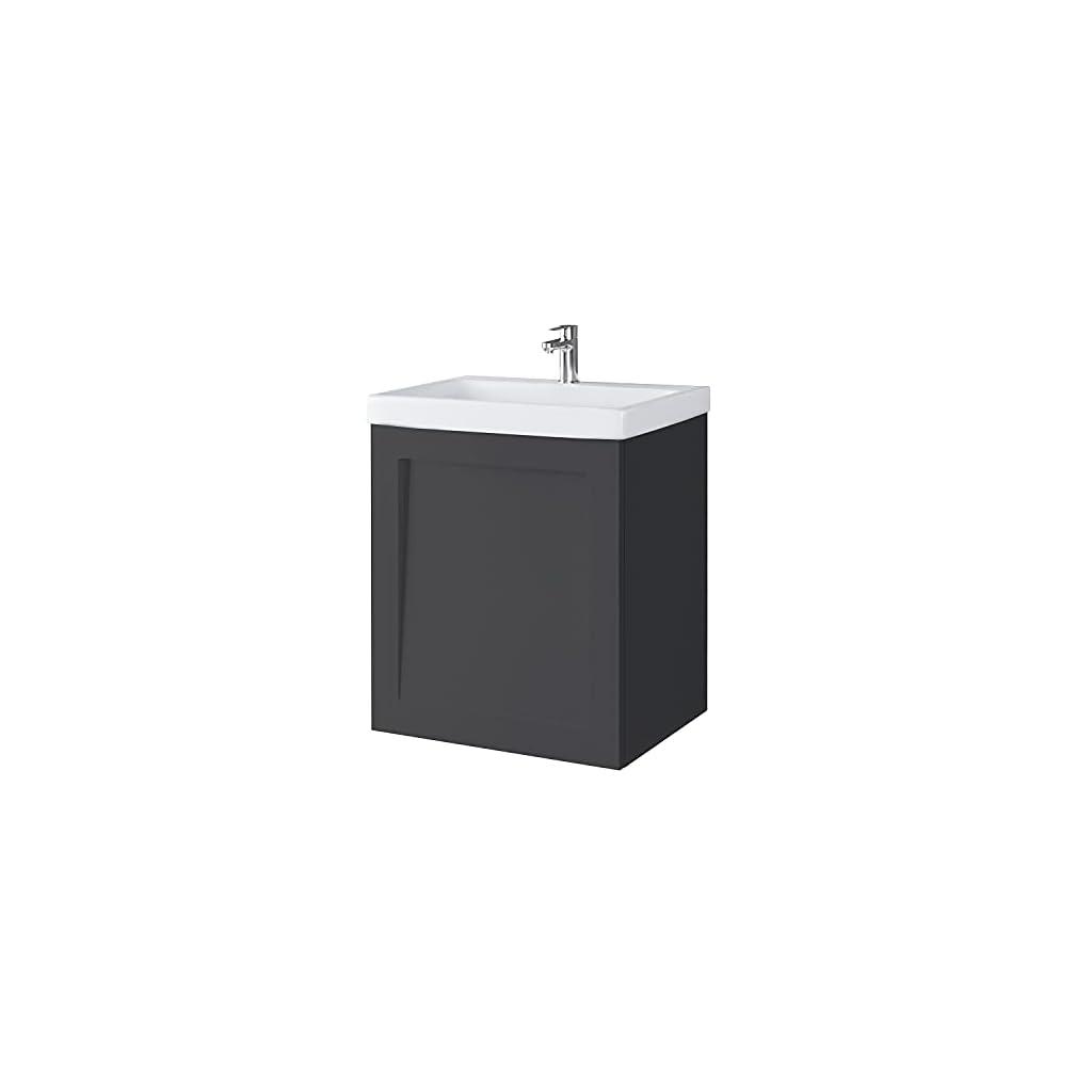 Meuble sous-Vasque céramique lavabo Ensemble de Meubles de Salle de Bain Toilettes invités 50cm (Anthracite Mat)