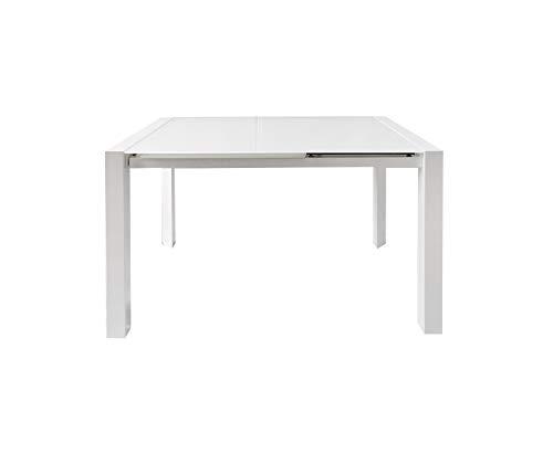 Meubletmoi - Mesa de comedor extensible 120/180 cm, rectangular, bandeja de cristal blanco, diseño contemporáneo