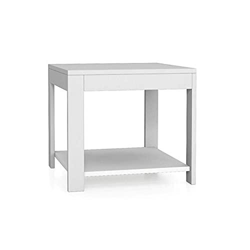 YBINGA Mesas de centro modernas y minimalistas con estante de almacenamiento (50,8 cm) mesa auxiliar (color: blanco) (Color: Blanco)