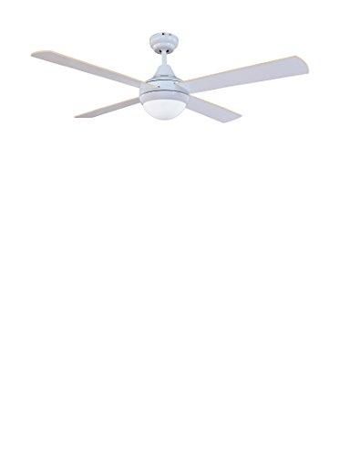 Ventilador de techo Sulión 75006 modelo Cross White con luz y mando a distancia, 122 cm. Acabado blanco 4 palas blanco-haya, Akunadecor