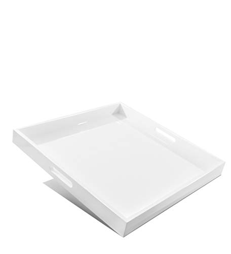 Large Ottoman Square Serving Tray- 20x20x2-Inch Glossy White Wooden Service Dish Platter with Handles - Large Bedroom Living Room Eating Caddy - Decorative Ottoman Tray for Breakfast Coffee Tea