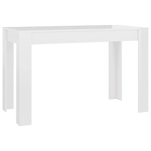 vidaXL Esstisch Minimalistischer Stil Esszimmertisch Küchentisch Tisch Speisetisch Esszimmer Küche Hochglanz-Weiß 120x60x76cm Spanplatte