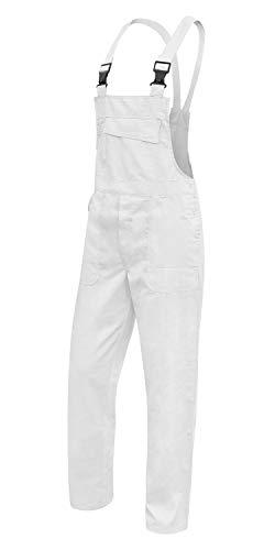 Kermen Latzhose Hamburg 100% Baumwolle 245g, Malerhose, hergestellt in der EU, Weiß Weiß weiß XXL