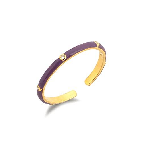 Anillo delgado de plata de ley 925 Esmaltado Ajustable Ajustable Blanco Púrpura Rosa Azul Joyería de mujer Joyería colorida en España-Esmalte púrpura