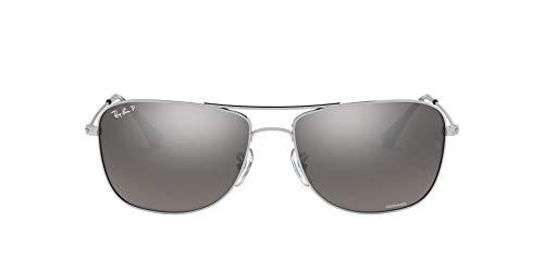 Ray-Ban RB 3543 Gafas de sol, Shiny Silver, 59 Unisex-Adulto