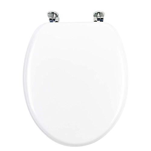 Sedile WC Universale in MDF Legno di Alta Qualità, Tavoletta Copriwater con Cerniere in Metallo, in Tanti Motivi Colorati per il Bagno, Trendy Line (BIANCO)