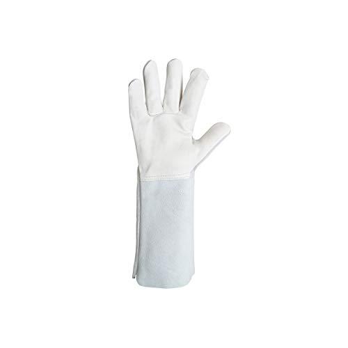 Singer Handschuh mit Hitzeschutz, Leder, Größe 10, Profi, Manschettenknöpfe, 20 cm, Größe 10, Handfläche mit Schwingspule, Rücken