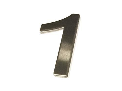Asc - Número 1 (One) - Acero Inoxidable Pulido Adhesivo Casa / Número de Puerta 10cm Alto