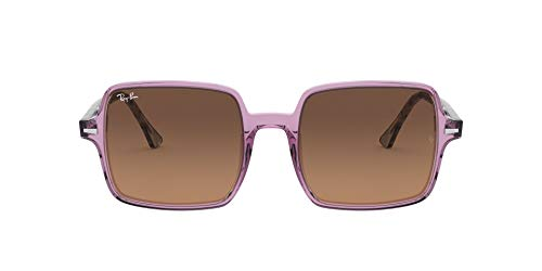 Ray-Ban Women's RB1973 Square II Sunglasses, Transparent Violet/Light Brown Gradient Black, 53 mm