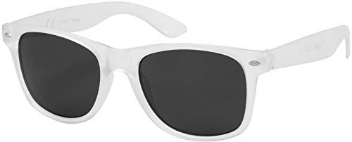 La Optica B.L.M. Gafas de Sol UV400 CAT3 Hombre Muje Vintage - Montura Transparente Mate, Lentes Gris / Negro