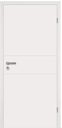 HORI® Zimmertür Komplettset mit Zarge und Türdrücker I Innentür weiß lackiert mit 2 Querstreifen I Höhe 198,5 cm I Anschlag, Breite und Wandstärke wählbar I DIN rechts I 1985 x 735 mm