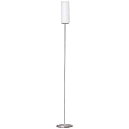 EGLO Stehlampe Troy 3, 1 flammige Stehleuchte, Material: Stahl, Farbe: Nickel matt, Glas: satiniert weiß, Fassung: E27, inkl. Trittschalter