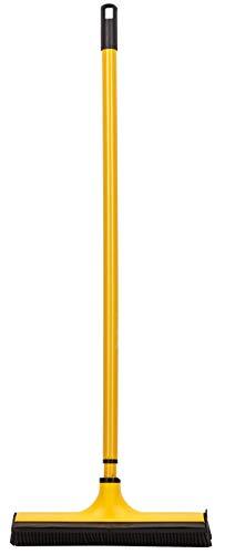 V7 Universal-Kehrbesen, V-Besen mit V-förmigen Borsten, Teleskop-Stiel und Gummilippe zum mühelosen Entfernen von Tier-, Haaren, Staub, Schmutz, Wasser, gelb