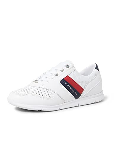 Tommy Hilfiger Lightweight Leather Sneaker, Zapatillas Mujer, Rojo (RWB 020), 38 EU