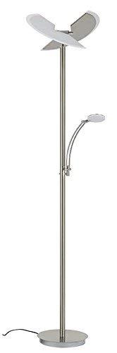 Briloner Leuchten Staande ledlamp met leeslamp, 2-delig kantelbare lampenkop, traploos dimbaar, moderne woonkamerlamp, 30 W + 6 W, hoogte: 180 cm