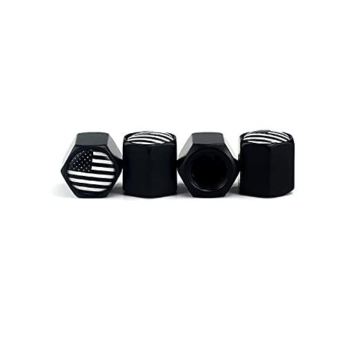 Tapa de válvula de neumático de coche 4pcs / set Válvula Tallos Tapas, Válvula de bandera americana Válvula Tapa de vínculo EE.UU. Flag Negro Tallo de vástago Aluminio con anillo de goma Rueda de neum