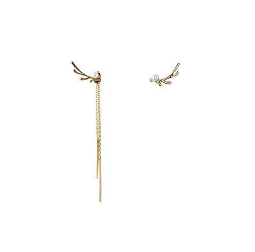 Classic Asymmetrical Metal Antlers Pearl Long Tassel Drop Earrings Korean Deer Horn Pendent Earrings for Women Girls Ear Jewelry 2pcs