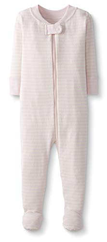 Moon and Back by Hanna Andersson Pyjama en coton bio avec pieds, pour tout-petits, bébés, rose/rayures, 2 ans (82-87 CM)