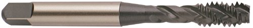 YG-1 F8 Series Vanadium Alloy HSS Spiral Flute Tap, TiN Coated, Round Shank with Square End, Bottoming Chamfer, 5/8