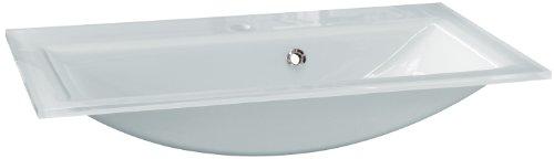 FACKELMANN Glasbecken / Waschtisch aus Glas / Maße (B x H x T): ca. 80 x 14,5 x 50 cm / Einbauwaschbecken / hochwertiges Waschbecken fürs Badezimmer und WC / Farbe: Weiß / Breite: 80 cm