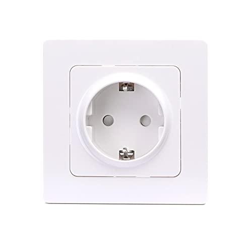 Aigostar Enchufe de pared Toma de Corriente, Intensidad de 16A a 250V, Enchufe Empotrado Superficie para Cocina, Dormitorio, Oficina, etc, En Color blanco