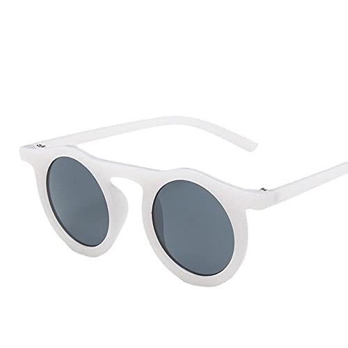 XUANTAO Gafas de Sol de Montura Redonda Retro para Hombres y Mujeres, Gafas de Sol de Tiro Callejero, Gafas de Personalidad clásicas, Conductor, conducción, Jalea Blanca