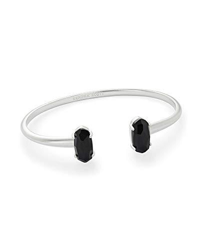 Kendra Scott Edie Cuff Bracelet for Women, Fashion Jewelry, Rhodium-Plated, Black Opaque Glass