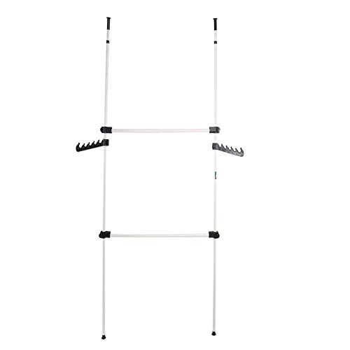 lyrlody Teleskop Garderoben-Kleiderschrank System Regalsystem Kleiderstangen System für zu Hause, Schlafsaal und Hotel, 2 Stangen 2 Querstangen