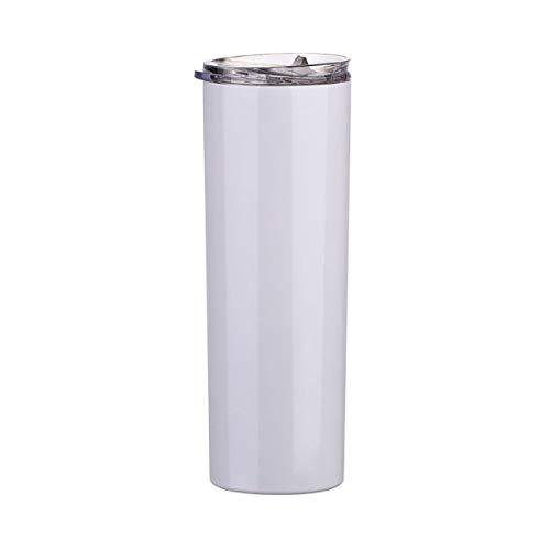 Buwaters Trinkbecher, Edelstahl, isoliert, doppelwandig, mit Deckel und Strohhalm, 850 ml, Weiß