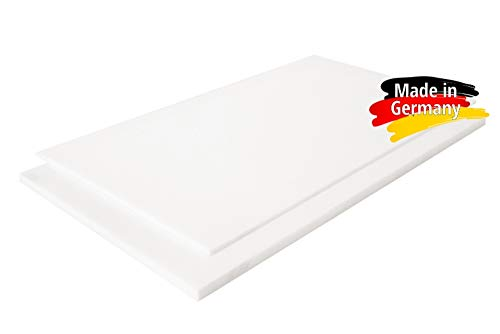 PE-HD Platte Zuschnitte | WEIß NATUR | 2-15mm | VERSCHIEDENE FORMATE | Top Qualität (100 x 49cm, 5mm)