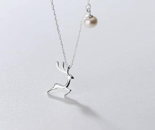 BEWITCHYU Collar de Plata S925, Cadena Brillante de la Clavícula Del Corazón de la Muchacha Del Modelo de Los Alces de la Moda de Las Señorasperla, Plata 925