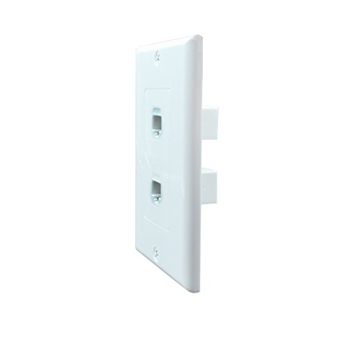 Cat6 Wall Plate and Keystone,Fly Tiger,Rj45 Jack Ethernet Connector,Female to Female,White (2 Port)