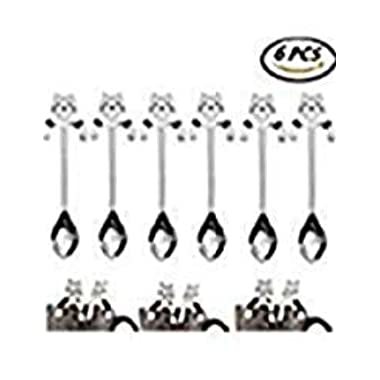 Cha Long 6 Pcs Stainless Steel Coffee Spoon Mini Cat Kitty, Tea Soup Sugar Dessert Appetizer Seasoning Bistro Spoon, Hanging Cup Spoon Kitchen Gadget SILVER