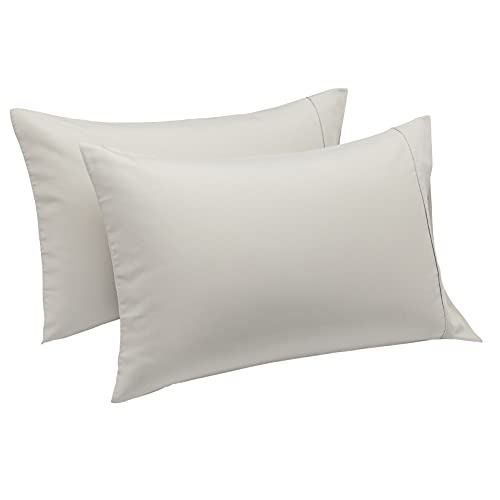 Amazon Basics Lightweight Soft Easy Care Microfiber Pillowcases - 2-Pack, Standard, Light Gray