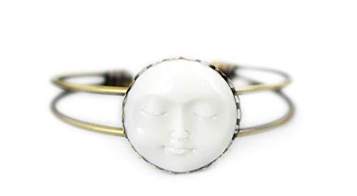 Miss Lovie - Pulsera para mujer, estilo vintage, luna, sol, blanco y bronce