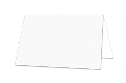 50 Stück kleine weiße neutrale universale stabile einfarbige Blanko -Tischkarten Namens-Schilder Sitzkarten Platzkarten Preisschilder Tisch-Aufsteller - mit JEDEM Stift beschreibbar!