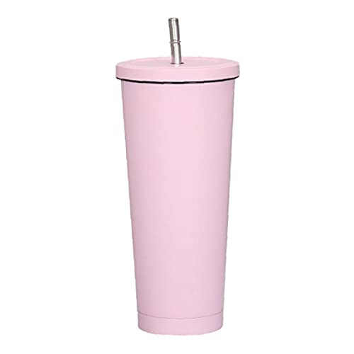 NIDONE de Acero Inoxidable de vacío Botella de Agua de la Taza aislada 500ML Taza de café Reutilizable con Paja para el hogar con Tapa a Prueba de Fugas en Rosa