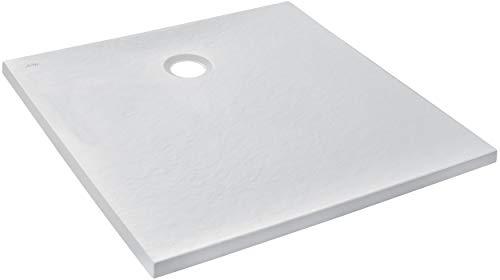 Jacob Delafon E62301-WPM Receveur de douche extra-plat IPSO 90x90x3 cm fabriqué en France et garantie 10 ans, Blanc Mat Texture...